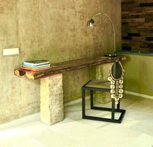 Load image into Gallery viewer, Live Edge Desk Console , Single Wood Slabs on Limestone Base
