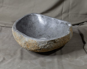"Natural Stone Oval Vessel Sink | River Stone Gray Wash Bowl #4  size is 15"" W x 13.5"" D x 5.75"" H"