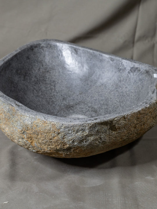 Natural Stone Oval Vessel Sink | River Stone Gray Wash Bowl #4  size is 15