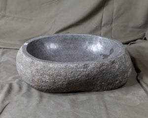 "Natural Stone Oval Vessel Sink | River Stone Gray Wash Bowl #14  size is 17"" W x 11.5"" D x 5.5"" H"