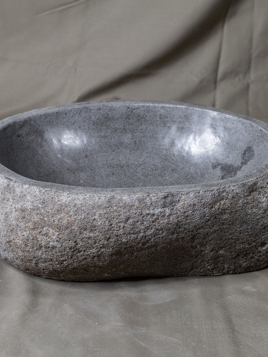 Natural Stone Oval Vessel Sink | River Stone Gray Wash Bowl #14  size is 17