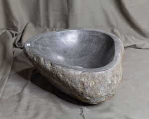 Natural Stone Oval Vessel Sink | River Stone Orange Exterior and Gray Interior Wash Bowl #18