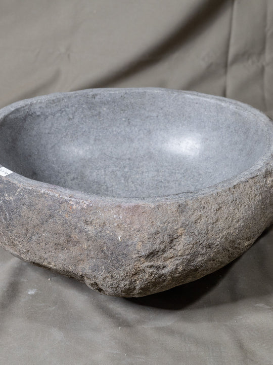Natural Stone Oval Vessel Sink | River Stone Gray Wash Bowl #20 size is 15.5