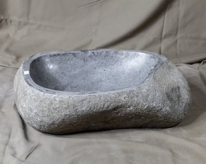 "Natural Stone Oval Vessel Sink | River Stone Gray Wash Bowl #21 size is 18.5"" W x 12"" D x 5.5"" H"