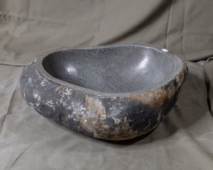 "Natural Stone Oval Vessel Sink | River Stone Gray + Darker Exterior Wash Bowl #24 size is 17"" W x 14.5"" D x 5.25"" H"