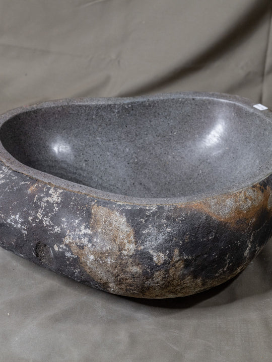 Natural Stone Oval Vessel Sink | River Stone Gray + Darker Exterior Wash Bowl #24 size is 17