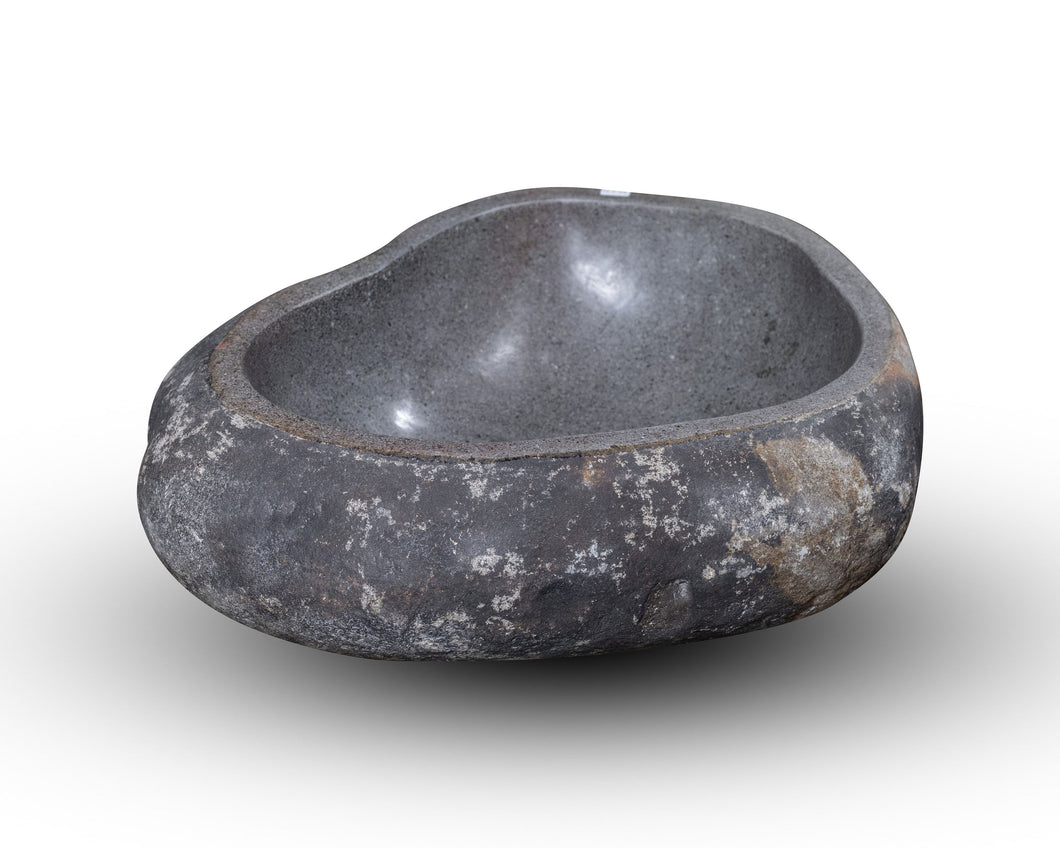 Natural Stone Oval Vessel Sink | River Stone Gray + Darker Exterior Wash Bowl #24 (COMING IN AUGUST)