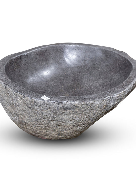 Natural Stone Oval Vessel Sink | River Stone Gray Wash Bowl #26 size is 15