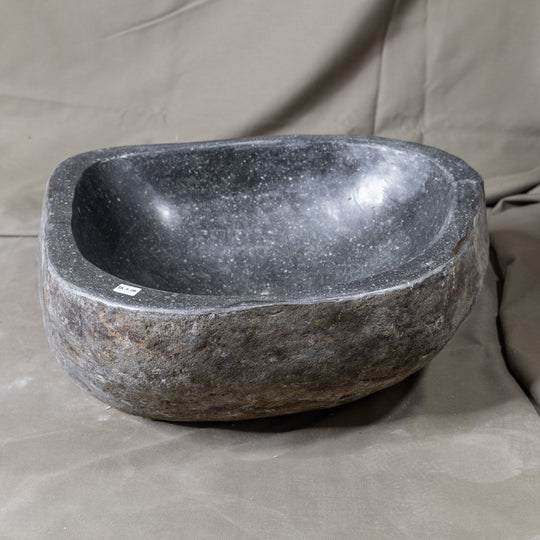 Natural Stone Oval Vessel Sink | River Stone Gray Wash Bowl #28 size is 15