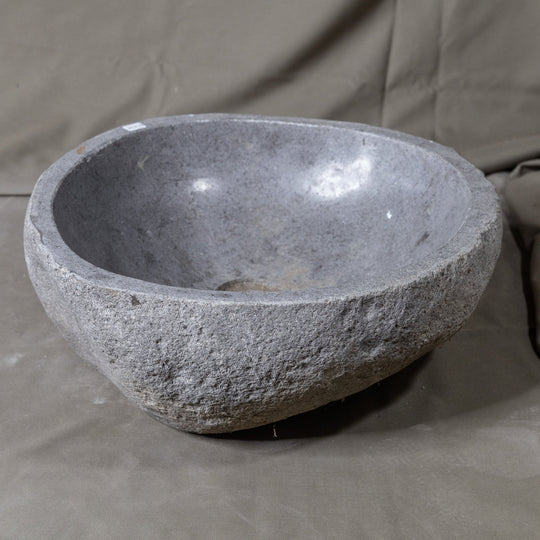 Natural Stone Oval Vessel Sink | River Stone Gray Wash Bowl #34 size is 15