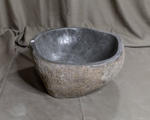 "Natural Stone Oval Vessel Sink | River Stone Gray Wash Bowl #37  size is 15.5"" W x 14"" D x 5.75"" H"