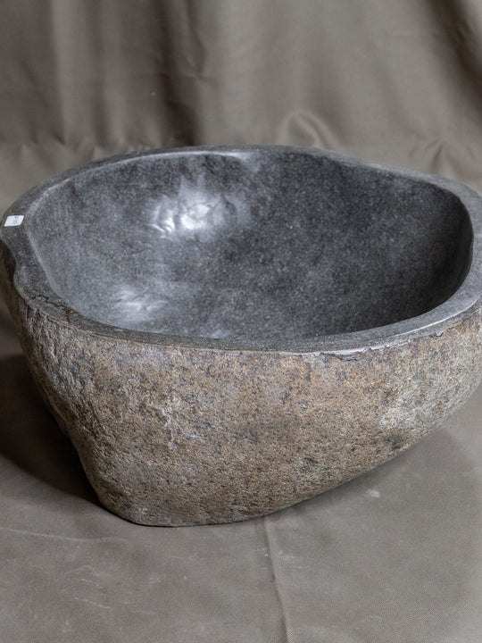 Natural Stone Oval Vessel Sink | River Stone Gray Wash Bowl #37  size is 15.5