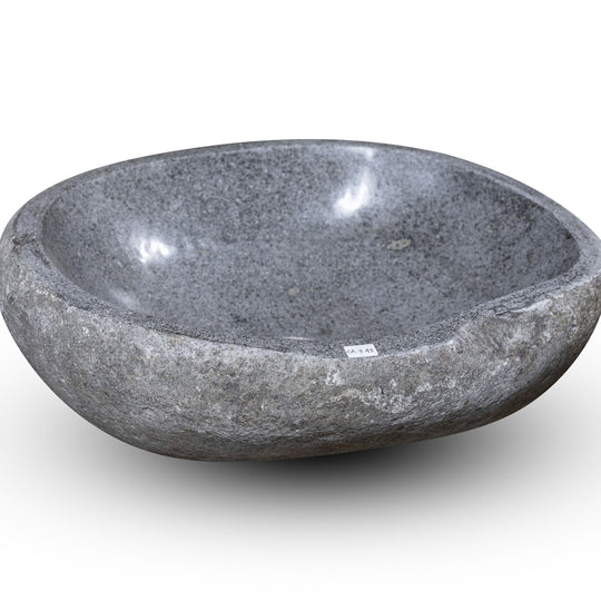 Natural Stone Oval Vessel Sink | River Stone Gray Wash Bowl #43 size 15.5