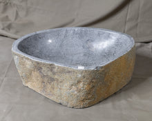 "Load image into Gallery viewer, Natural Stone Oval Vessel Sink | River Stone Gray Wash Bowl #44 size is 17"" W x 12.5"" D x 5.75"" H"
