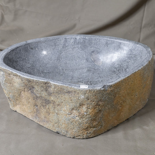 Natural Stone Oval Vessel Sink | River Stone Gray Wash Bowl #44 size is 17