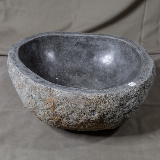 Natural Stone Oval Vessel Sink | River Stone Gray Wash Bowl #46 size 15