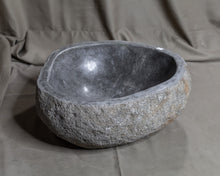 "Load image into Gallery viewer, Natural Stone Oval Vessel Sink | River Stone Gray Wash Bowl #46 size 15"" W x 14"" D x 6"" H"