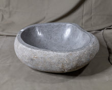 "Load image into Gallery viewer, Natural Stone Oval Vessel Sink | River Stone Gray Wash Bowl #49 size is 16"" W x 14"" D x 5.75"" H"