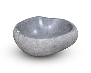 "Natural Stone Oval Vessel Sink | River Stone Gray Wash Bowl #49 size is 16"" W x 14"" D x 5.75"" H"