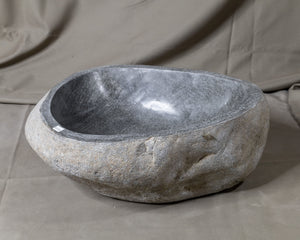 "Natural Stone Oval Vessel Sink | River Stone Gray Wash Bowl #53 size is 17"" W x 13.5"" D x 6"" H"