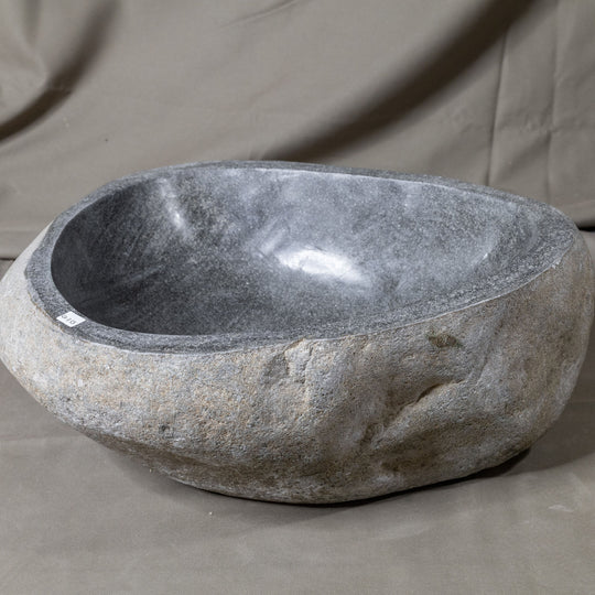 Natural Stone Oval Vessel Sink | River Stone Gray Wash Bowl #53 size is 17