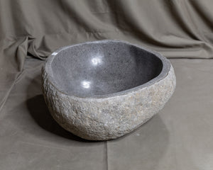 "Natural Stone Oval Vessel Sink | River Stone Gray Wash Bowl #56 size is 16"" W x 13"" D x 6"" H"