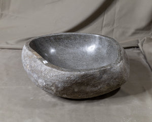 "Natural Stone Oval Vessel Sink | River Stone Gray Wash Bowl #62 size is 15"" W x 14"" D x 6"" H"