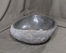 "Load image into Gallery viewer, Natural Stone Oval Vessel Sink | River Stone Gray Wash Bowl #62 size is 15"" W x 14"" D x 6"" H"