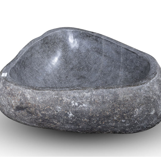 Natural Stone Oval Vessel Sink | River Stone Gray Wash Bowl #67  size is 17