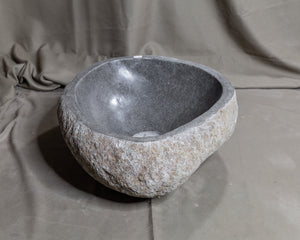 "Natural Stone Oval Vessel Sink | River Stone Gray Wash Bowl #68 size is 16.5"" W x 13.5"" D x 6"" H"