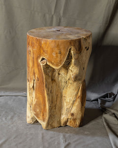 "Solid Teak Wood Side Table, Natural Tree Stump Stool or End Table #13    17.5"" H x 11.75"" W x 11.75"" D"