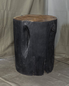 "Solid Teak Wood Side Table, Natural Black Tree Stump Stool or End Table #14    17.75"" H x 14.5"" W x 15"" D"