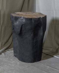 "Solid Teak Wood Side Table, Natural Black Tree Stump Stool or End Table #19    18"" H x 13"" W x 13"" D"