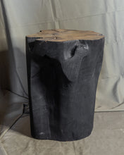 "Load image into Gallery viewer, Solid Teak Wood Side Table, Natural Black Tree Stump Stool or End Table #19    18"" H x 13"" W x 13"" D"
