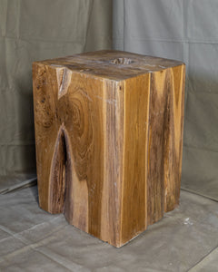 "Square Solid Teak Wood Side Table, Natural Tree Stump Stool or End Table #3   17.75"" H x 12"" W x 12"" D"