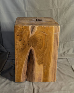 Square Solid Teak Wood Side Table, Natural Tree Stump Stool or End Table #3 (COMING IN THE END OF AUGUST)