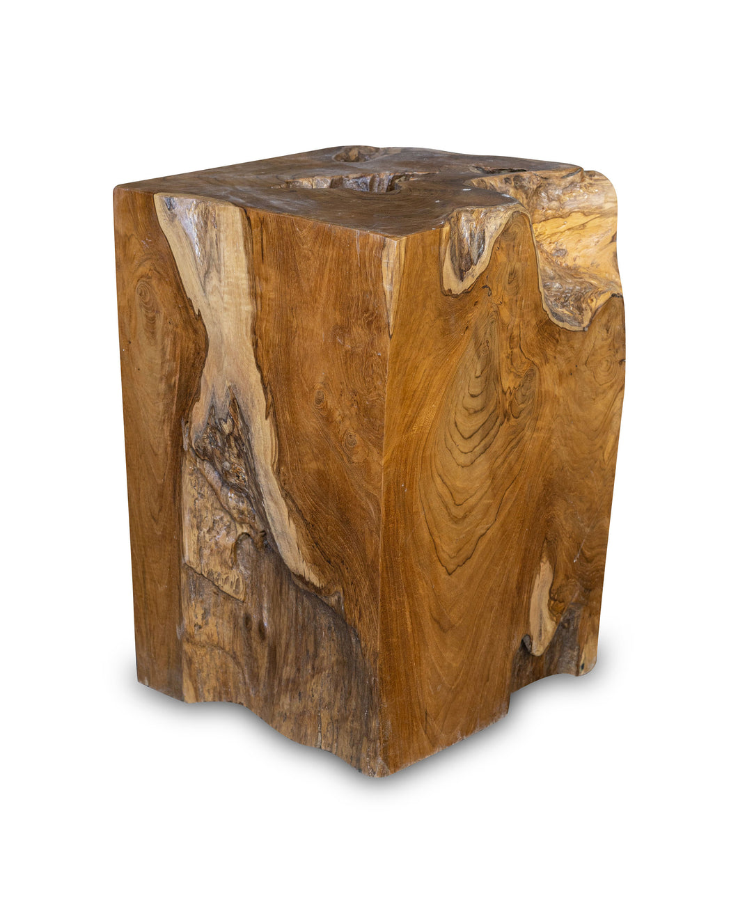 Square Solid Teak Wood Side Table, Natural Tree Stump Stool or End Table #5    17.5