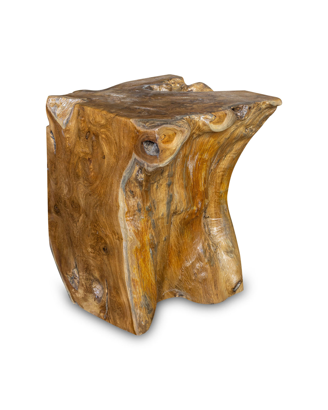 Square Solid Teak Wood Side Table, Natural Tree Stump Stool or End Table #6  15.5