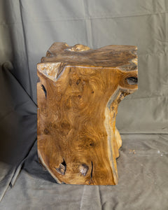 "Square Solid Teak Wood Side Table, Natural Tree Stump Stool or End Table #6  15.5"" H x 12"" W x 12"" D"