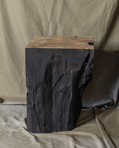 "Square Solid Teak Wood Side Table, Natural Black Tree Stump Stool or End Table #8  16.25"" H x 12"" W x 12"" D"
