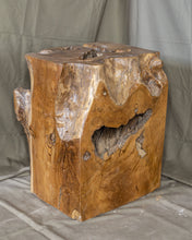 "Load image into Gallery viewer, Square Solid Teak Wood Side Table, Natural Tree Stump Stool or End Table #11   17.5"" H x 15"" W x 13"" D"