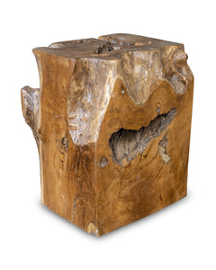 "Square Solid Teak Wood Side Table, Natural Tree Stump Stool or End Table #11   17.5"" H x 15"" W x 13"" D"