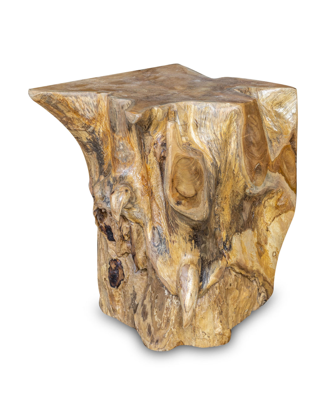 Square Solid Teak Wood Side Table, Natural Tree Stump Stool or End Table #15 16