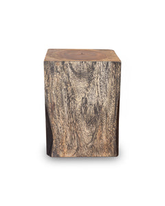 Square Solid Acacia  Wood Side Table, Black and Brown Natural Tree Stump Stool or End Table #4 (COMING IN THE END OF AUGUST)