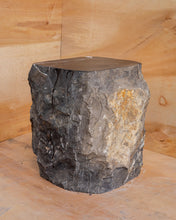 Load image into Gallery viewer, Natural Dark Marble Side Table Block, Hammer Hit Edges Solid Stool or End Table #1