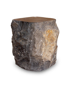 Natural Dark Marble Side Table Block, Hammer Hit Edges Solid Stool or End Table #1