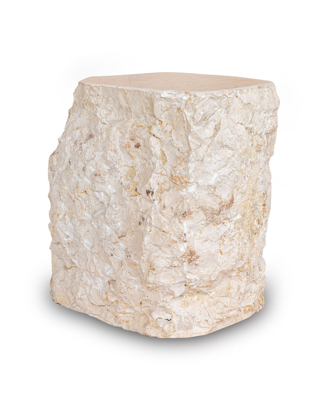 Natural Light Marble Side Table, Hammer Hit Edges Solid Stool or End Table #3 (COMING IN THE END OF AUGUST)