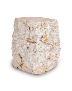 Natural Light Marble Side Table Block, Hammer Hit Edges Solid Stool or End Table #4