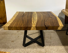 Load image into Gallery viewer, Modern Square Live Edge Dining Table, Wood and Metal Base #2