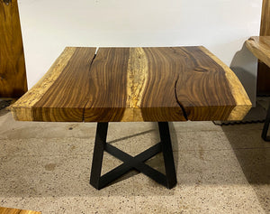 Modern Square Live Edge Dining Table, Wood and Metal Base #2
